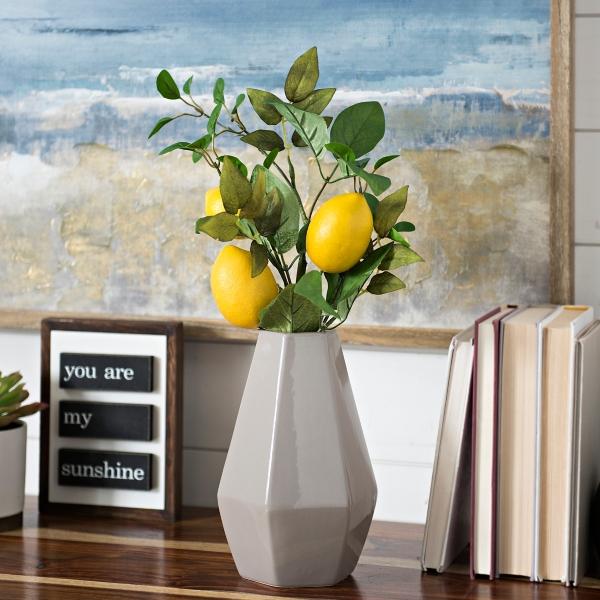 Yellow Lemon and Greenery Stem