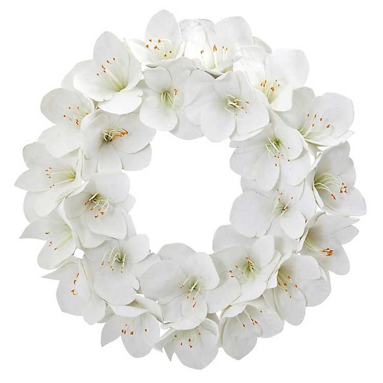 White Amaryllis Christmas Wreath   Kirklands