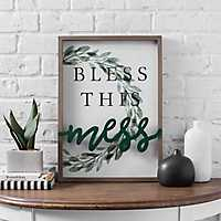Bless This Mess Floral Wreath Wall Plaque
