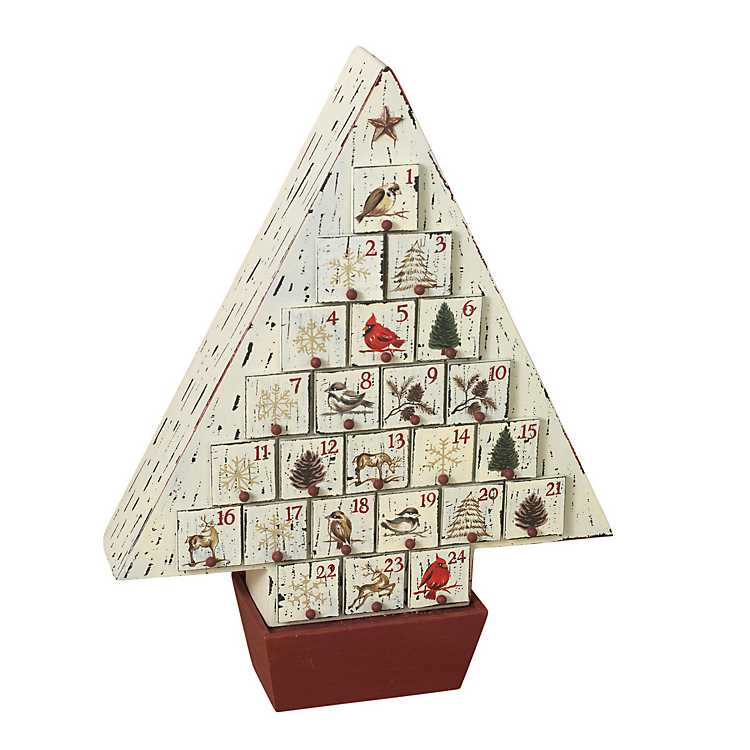 Wooden Christmas Trees.Rustic Wooden Christmas Tree Advent Calendar