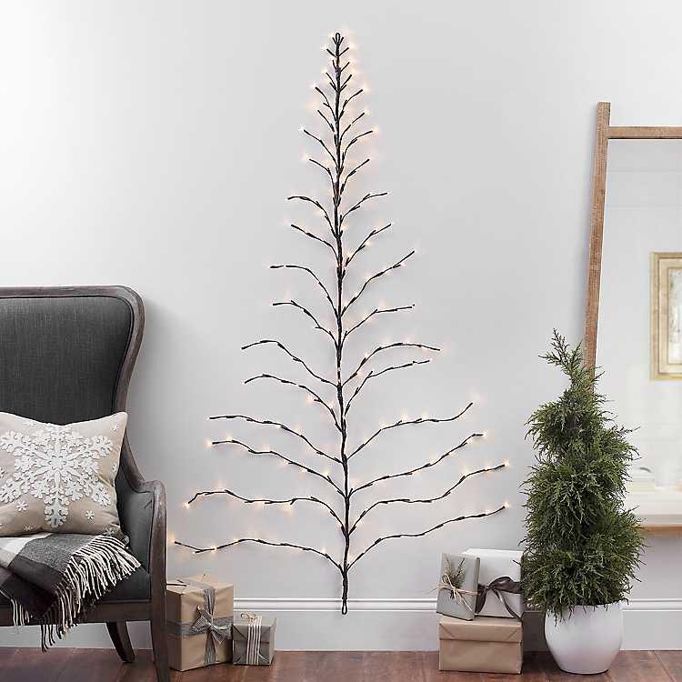 6 Ft Pre Lit Twig Wall Hanging Christmas Tree