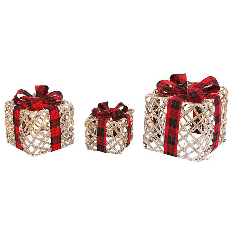 lighted christmas gift boxes with bows set of 3