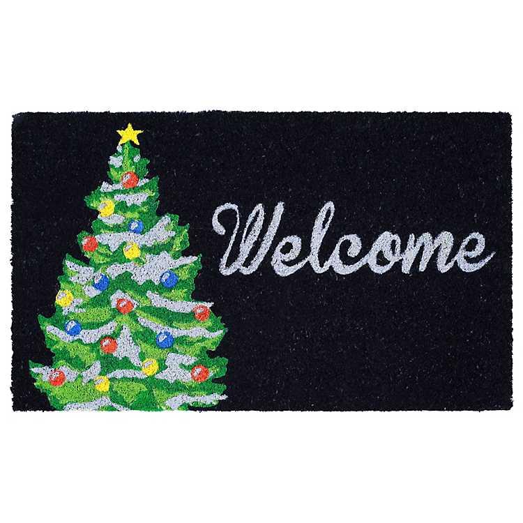 Black Holiday Tree Doormat | Kirklands
