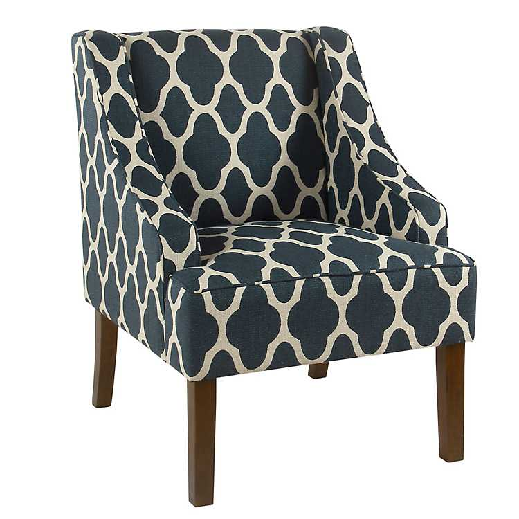 Geometric Navy Swoop Arm Chair ...