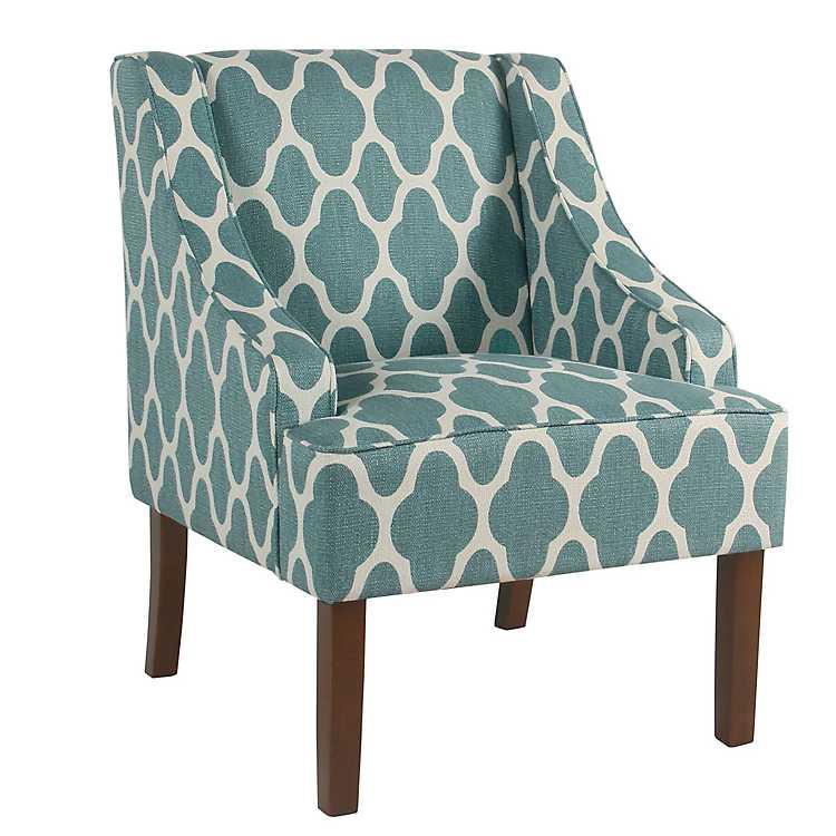 Geometric Teal Swoop Arm Chair ...