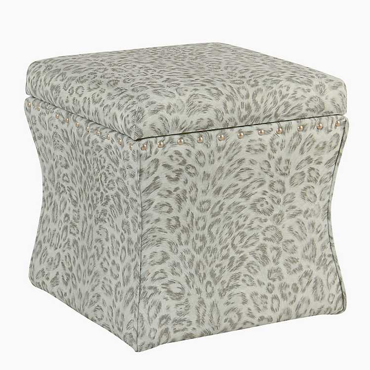Gray Cheetah Storage Ottoman With Nailhead Trim ...