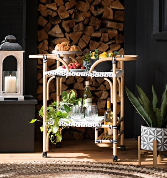 Black and White Rattan Bar Cart with Wood Frame