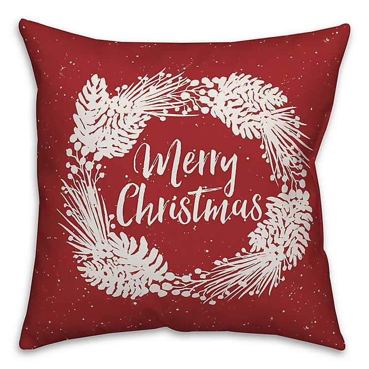 merry christmas wreath outdoor pillow - Christmas Outdoor Pillows