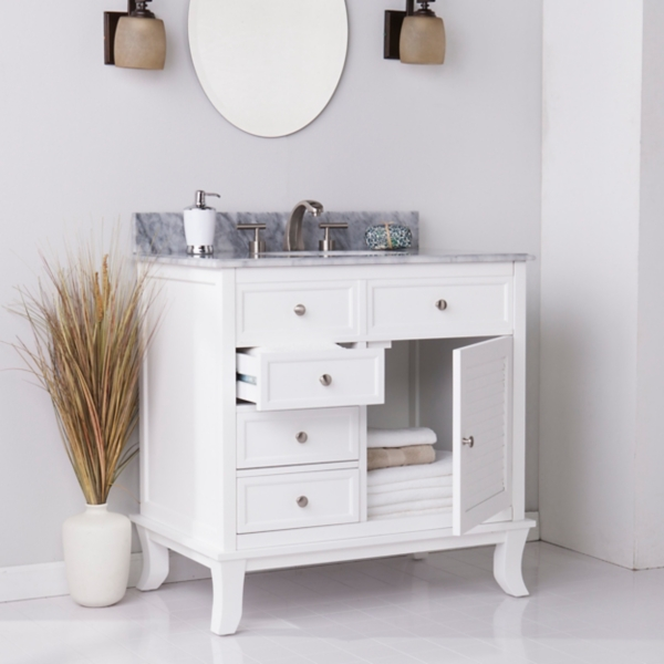Milan Gray Marble Counter Top White Vanity Sink