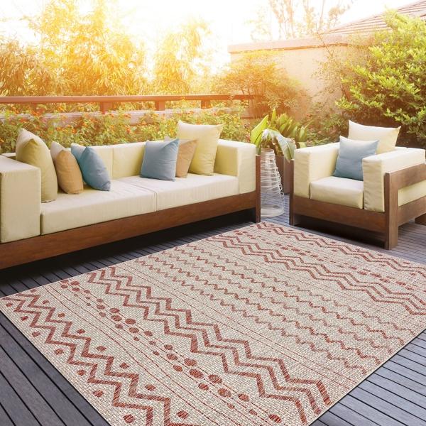 Geometric Stripe Sun Shower Outdoor Area Rug