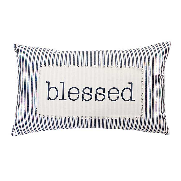Product Details Blessed Ticking Stripe Accent Pillow