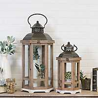 Set of 2 Wooden Hexagon Lanterns with Metal Tops