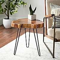 Small Wood Live Edge Table with Hairpin Legs