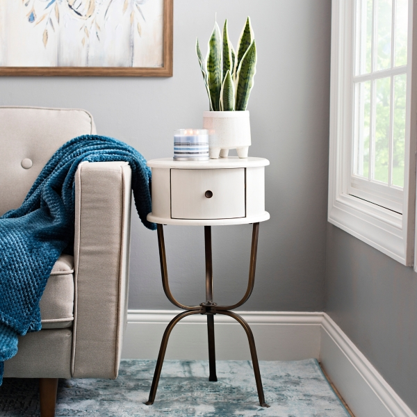 Distressed Whitewash Round Accent Table