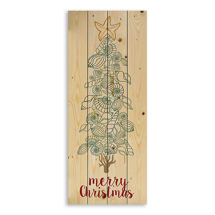 merry christmas seashell tree pallet plaque