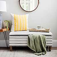 Black and White Striped Storage Bench