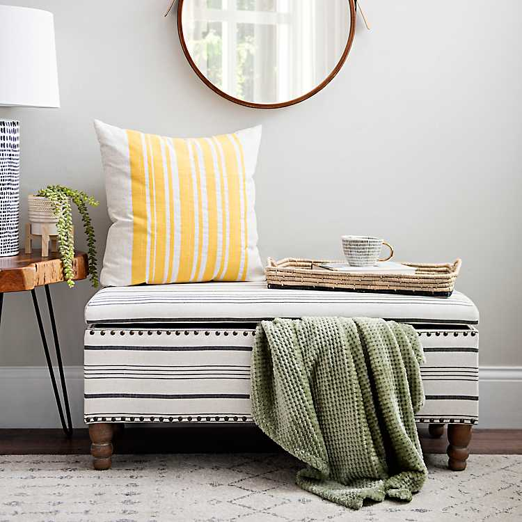 Admirable Black And White Striped Storage Bench Dailytribune Chair Design For Home Dailytribuneorg
