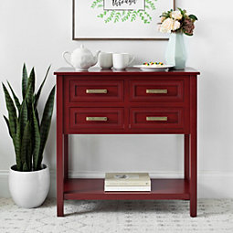 Red Beaded 4 Drawer Console Table