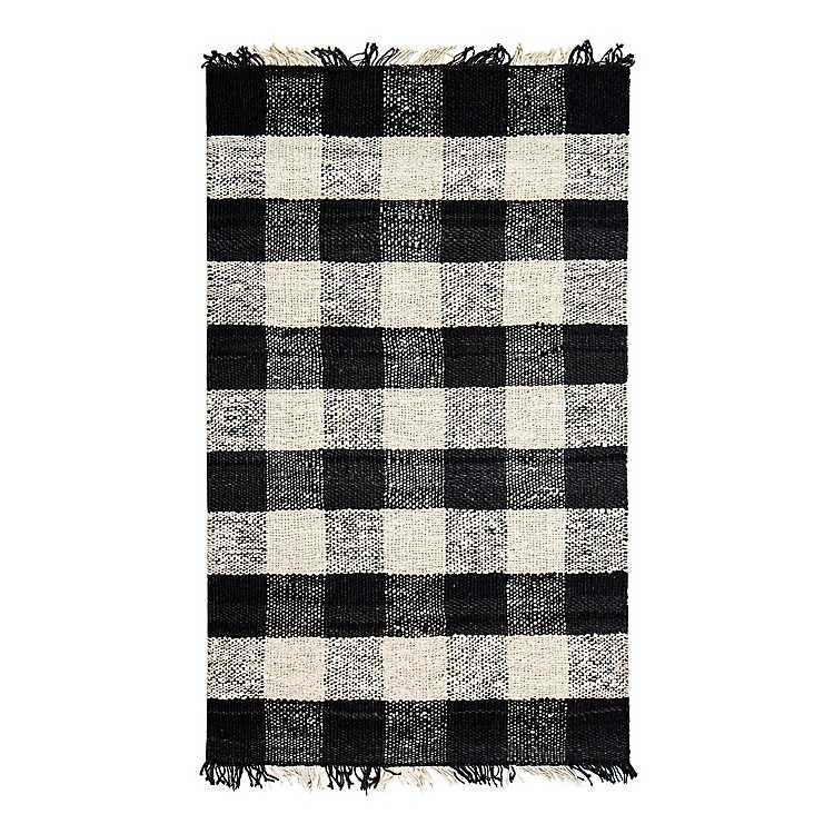 Black And White Buffalo Check Glen Area Rug 5x7