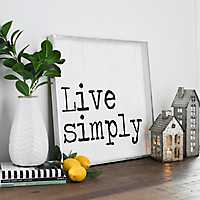 Black and White Live Simply Wall Plaque