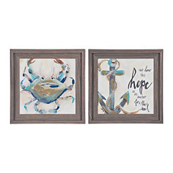 Crab And Anchor Framed Art Prints Set Of 2