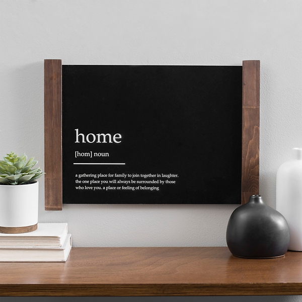 Black Home Definition Wall Plaque with Wood Frame