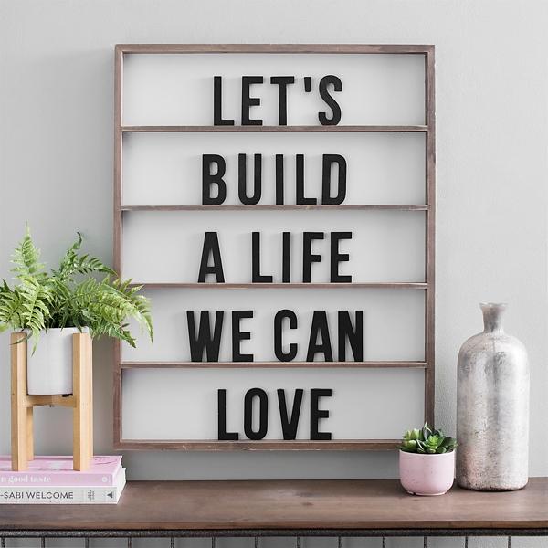 Let's Build A Life We Can Love Wood Wall Plaque | Kirklands