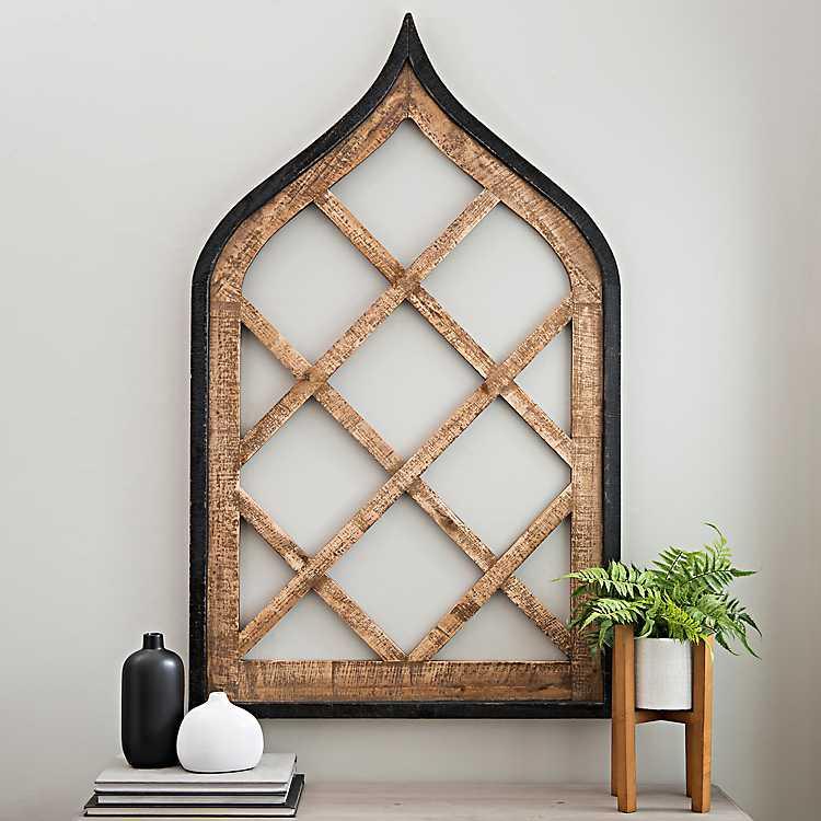 Dark Wood Diamond Arch With Black Frame
