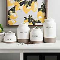 Set of 4 Two-Tone Modern Farmhouse Canisters