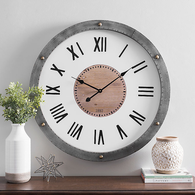 Enamel Dial Wall Clock with Galvanized Frame