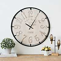 Natural Wood Carved and Metal Frame Wall Clock