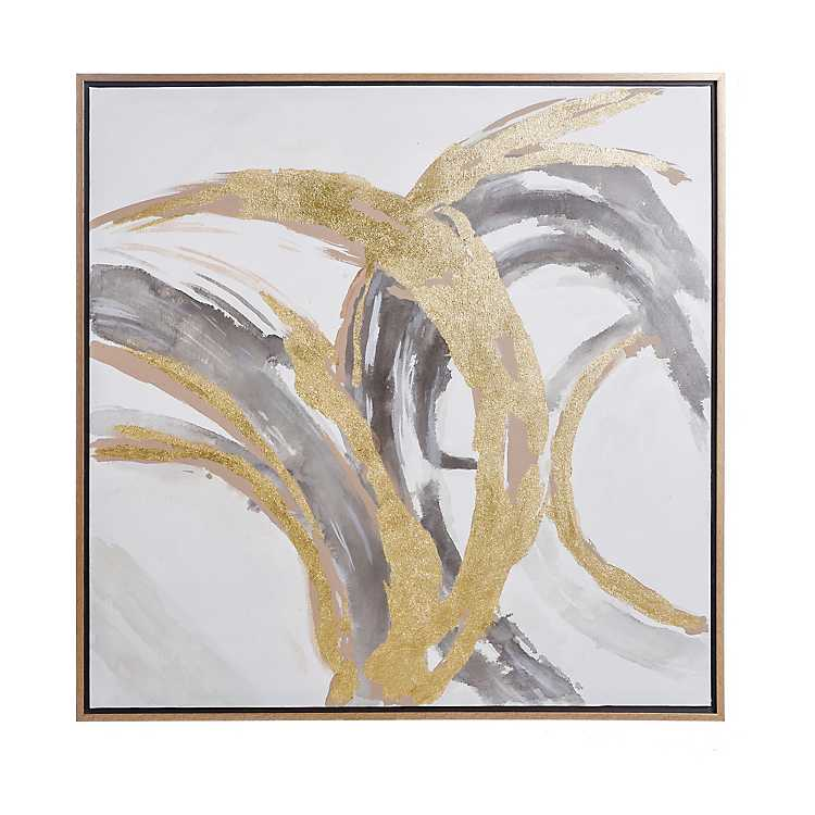 Gold Abstract Hand Painted Framed Canvas Art Print