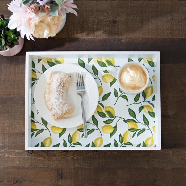 White and Yellow Lemon Decorative Tray