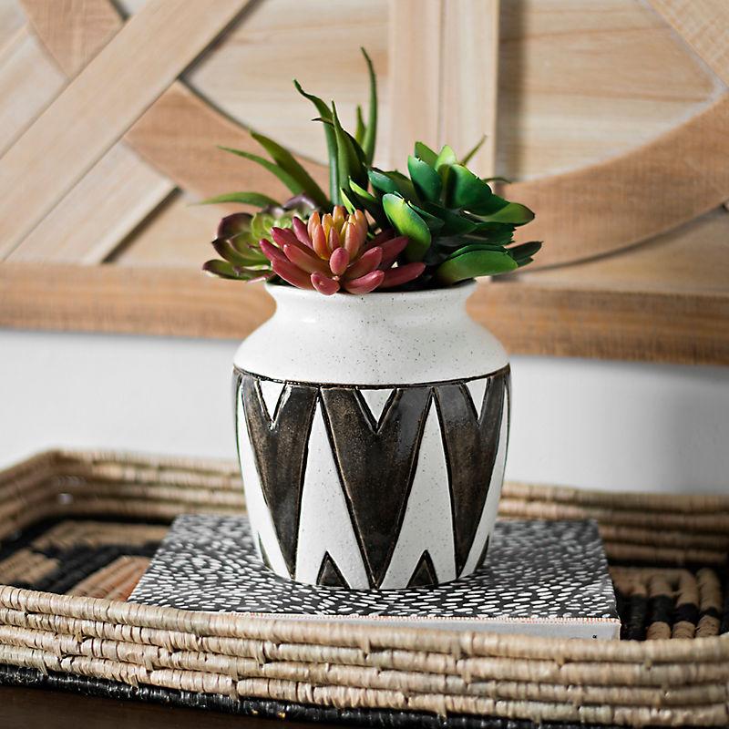 Black Zig Zag Ceramic Vase