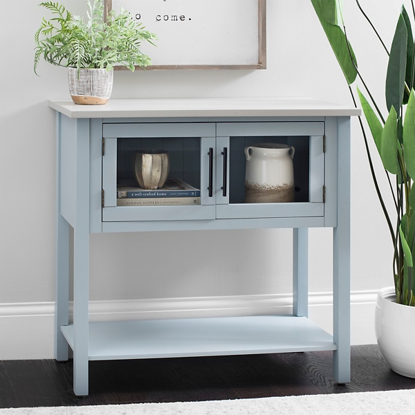 Slate Gray Glass Door Console Table with Gray Top