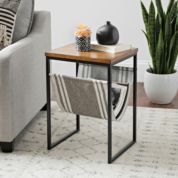 Side Table with Striped Canvas Magazine Rack