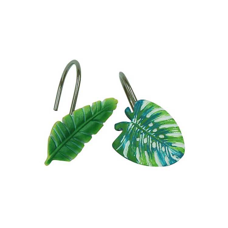 Product Details Green Kauai Leaf Shower Curtain Hooks
