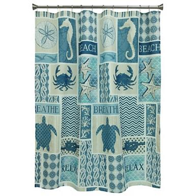 Navy Coastal Patchwork Shower Curtain
