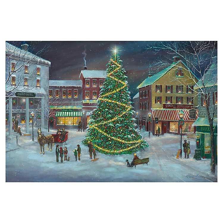 Christmas Village Square Canvas Art Print | Kirklands