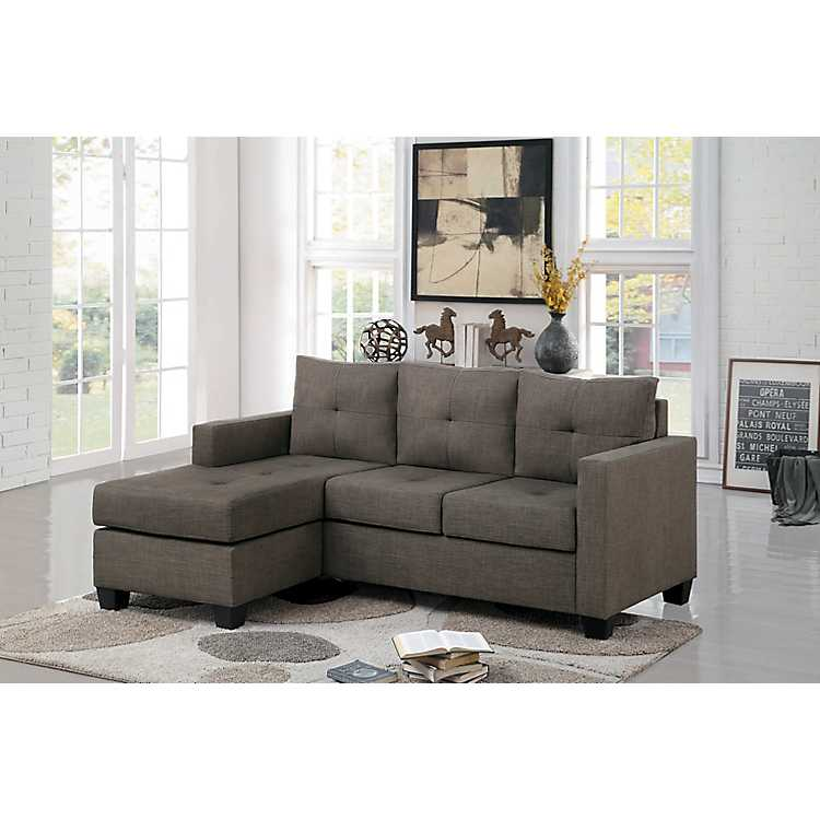 Awesome Chocolate Reversible Chaise Keva Sofa Pabps2019 Chair Design Images Pabps2019Com