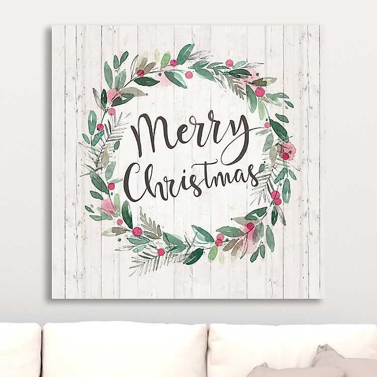 Merry Christmas Wreath Canvas Art Print | Kirklands