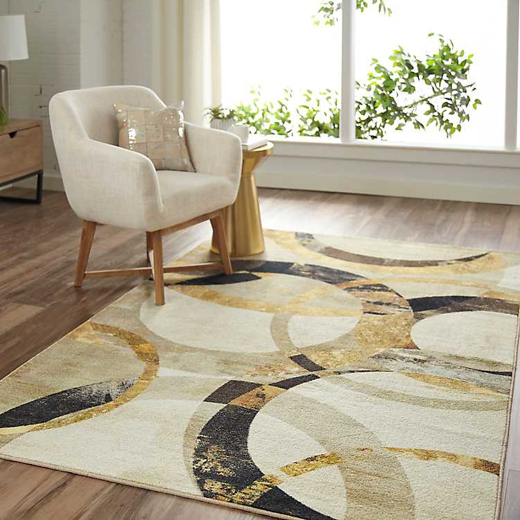 Gold Mirrored Rings Area Rug 8x10
