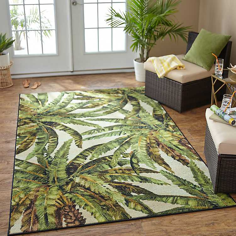 Green Verde Palm Area Rug 8x10