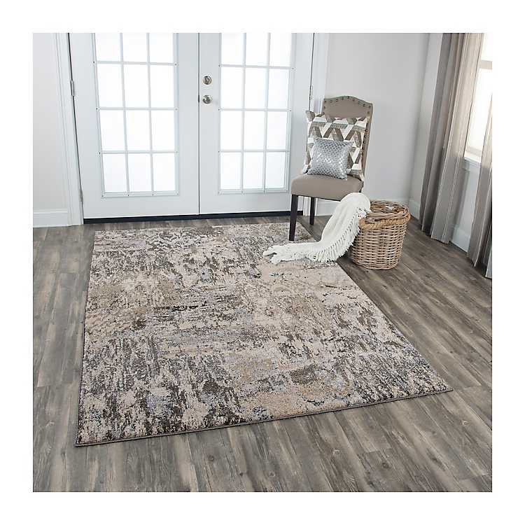 Gray and Tan Valeria Abstract Area Rug