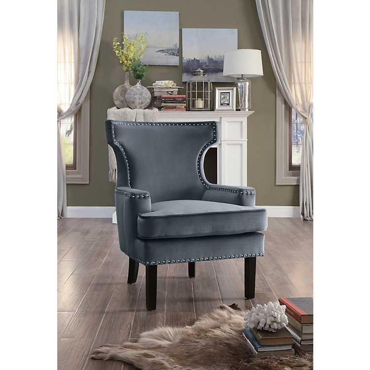 Natalie Gray Velvet Nailhead Accent Chair ...