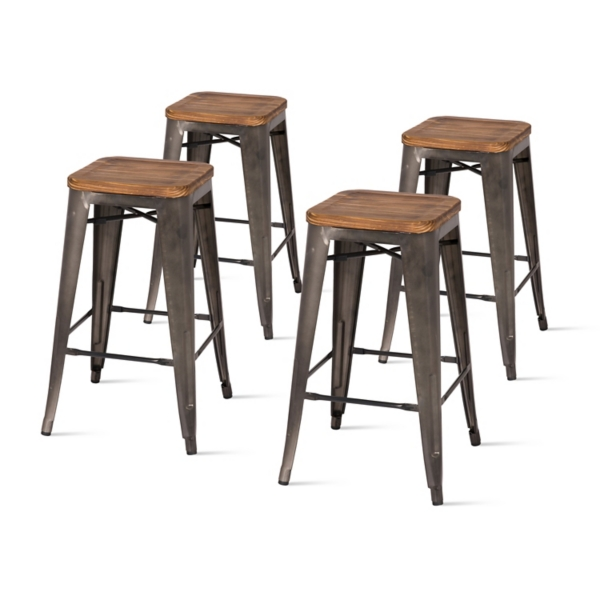 Strange Wood And Metal Backless Counter Stools Set Of 4 Kirklands Squirreltailoven Fun Painted Chair Ideas Images Squirreltailovenorg