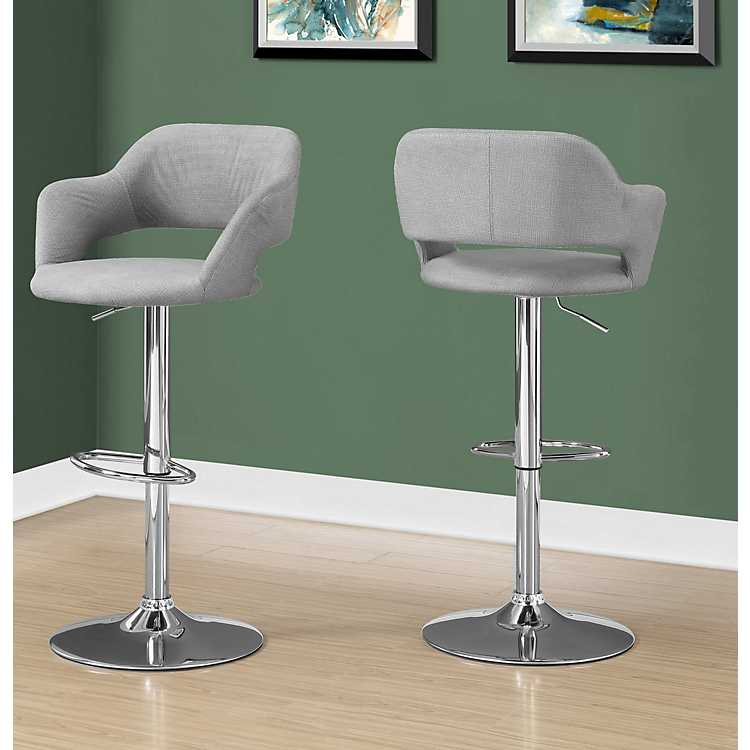 Gray Fabric Metal Chrome Hydraulic Lift Bar Stool