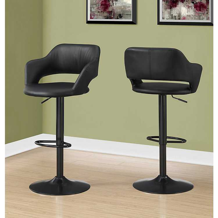 Ella Black Faux Leather Hydraulic Lift Bar Stool