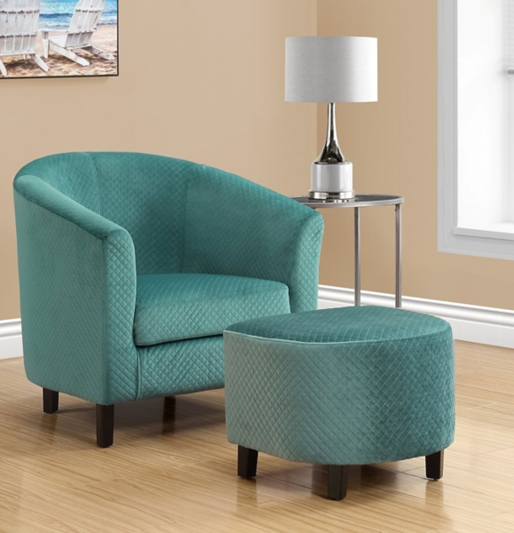 Sensational Myra Turquoise Quilted Accent Chair With Ottoman Kirklands Ncnpc Chair Design For Home Ncnpcorg
