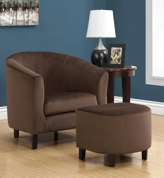 Sensational Myra Dark Brown Quilted Accent Chair With Ottoman Kirklands Ncnpc Chair Design For Home Ncnpcorg